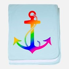 Rainbow Anchor baby blanket