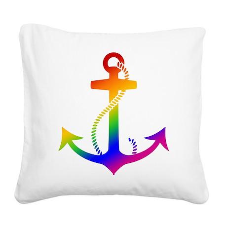 Rainbow Anchor Square Canvas Pillow