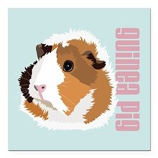 Retro Guinea Pig 'Elsie' (blue) Square Car Magnet