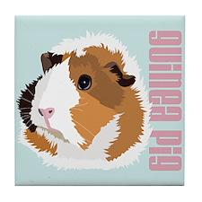 Retro Guinea Pig 'Elsie' (blue) Tile Coaster
