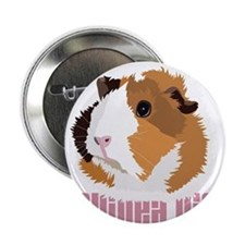 "Retro Guinea Pig 'Elsie' (white) 2.25"" Button"