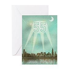 55th birthday spotlights over the city Greeting Ca