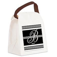 Black and White Stripe Monogram Canvas Lunch Bag