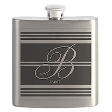 Black and White Stripe Monogram Flask