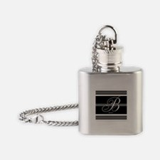 Black and White Stripe Monogram Flask Necklace