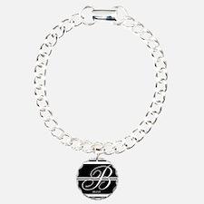 Black and White Stripe Monogram Bracelet