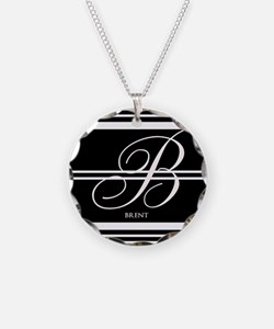 Black and White Stripe Monogram Necklace