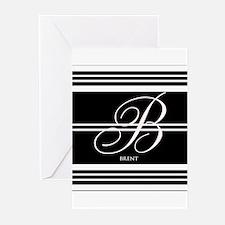 Black and White Stripe Monogram Greeting Cards (Pk