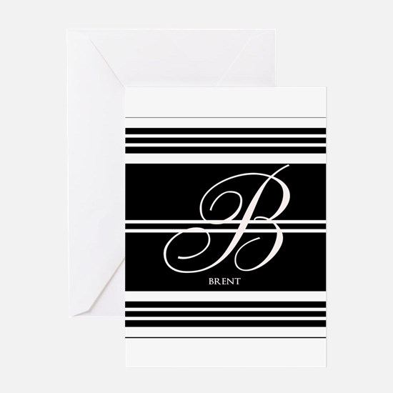 Black and White Stripe Monogram Greeting Card