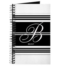 Black and White Stripe Monogram Journal