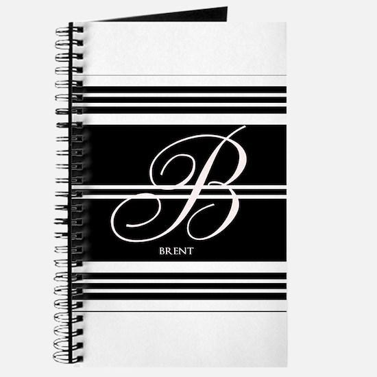 Black and White Stripe Monogram Journal