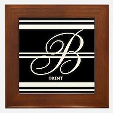 Black and White Stripe Monogram Framed Tile