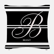Black and White Stripe Monogram Woven Throw Pillow
