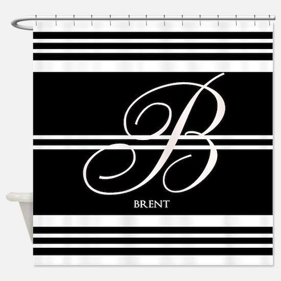 Black and White Stripe Monogram Shower Curtain