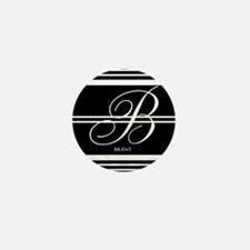 Black and White Stripe Monogram Mini Button (10 pa