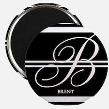 """Black and White Stripe Monogram 2.25"""" Magnet (100"""