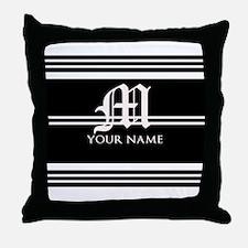 Black and White Stripe Monogram Throw Pillow