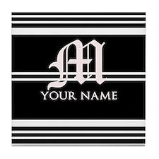 Black and White Stripe Monogram Tile Coaster