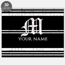Black and White Stripe Monogram Puzzle