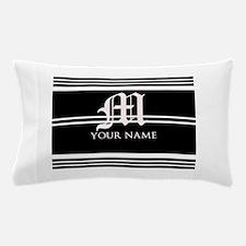 Black and White Stripe Monogram Pillow Case