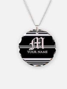 Black and White Stripe Monogram Necklace