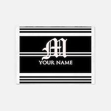 Black and White Stripe Monogram 5'x7'Area Rug