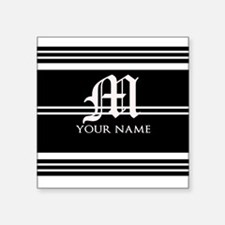 Black and White Stripe Monogram Sticker