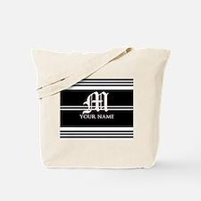 Black and White Stripe Monogram Tote Bag