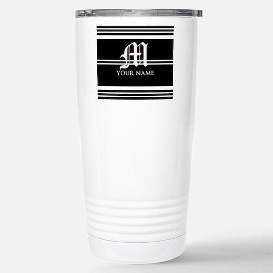 Black and White Stripe Monogram Travel Mug