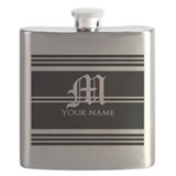 Black and white stripe monogram Flask Bottles