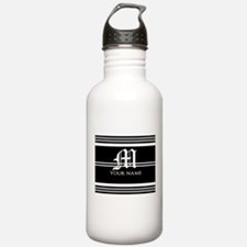 Black and White Stripe Monogram Water Bottle