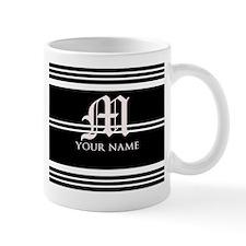 Black and White Stripe Monogram Small Small Mug