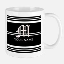 Black and White Stripe Monogram Small Small Mug
