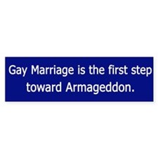 Gay Marriage - Armageddon Bumper Car Sticker