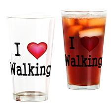 I LOVE WALKING Drinking Glass