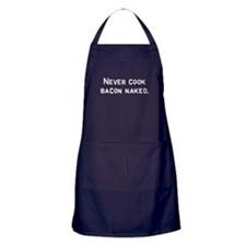 Never cook bacon naked Apron (dark)
