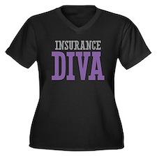 Insurance DIVA Women's Plus Size V-Neck Dark T-Shi
