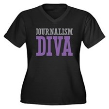 Journalism DIVA Women's Plus Size V-Neck Dark T-Sh