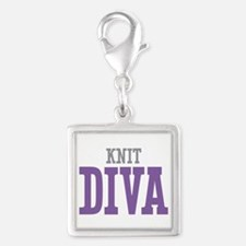 Knit DIVA Silver Square Charm