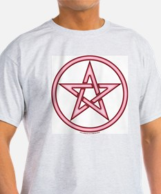 1 Sided Red Pink Pentacle Ash Grey T-Shirt