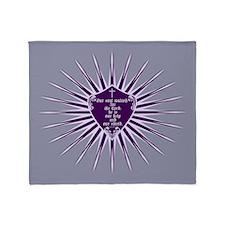 Psalm 33:20 Shield Purple Throw Blanket