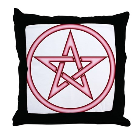 Red Pink Pentacle Throw Pillow