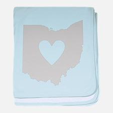 Heart Ohio baby blanket