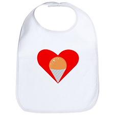 Orange Snow Cone Heart Bib