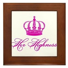 Her Highness text design with an old crown Framed