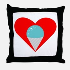 Blue Snow Cone Heart Throw Pillow