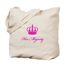 Her Majesty text design with an old crown Tote Bag