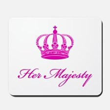 Her Majesty text design with an old crown Mousepad
