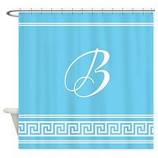 Monogram Geometric Turquoise Shower Curtain