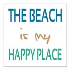 """The Beach Is My Happy Place Square Car Magnet 3"""" x"""